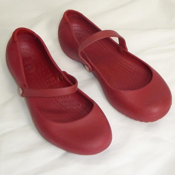 CROCS Shoes - Croc Red Mary Jane Flats Size 9  117